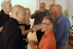 Luxurious teenager waitress is group-fucked by a gang of grandpas at the office